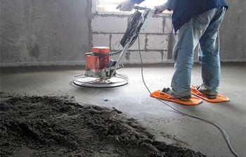 Шлифовка полусухой стяжки дисковой машиной по бетону